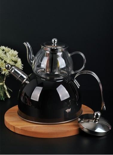 Bayev Düz Renk Düdüklü Cam Çaydanlık-200600 Siyah